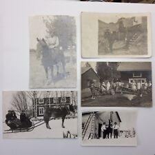 Lot Of 5 Sepia Photographs Men Women Horse Sleigh Riding Houses Uniforms F090