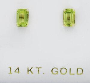 GENUINE 1.22 Cts PERIDOT STUD EARRINGS 14K GOLD * Free Certificate Appraisal *