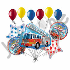 11 pc Fire Engine Happy Birthday Balloon Bouquet Rescue Truck Fighter Ladder