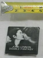 VINTAGE BEATLES JOHN LENNON DOUBLE FANTASY YOKO ONO PIN BACK BUTTON BADGE