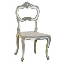 French Country Ornate Painted Grey White Wood Rattan Furniture Dining Seat Chair