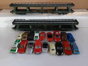 Marklin HO :  4074, deux wagons transport voitures avec 18 voitures DB