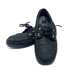 Men's Sperry Top-Sider Original Boat Shoes Black Suede Moc, Size 11