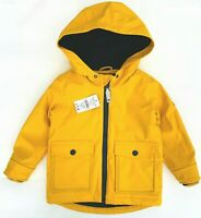 Nutmeg Boys Yellow Raincoat Hooded Padded Quilted Rubber Waterproof Coat NEW