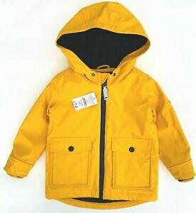 Nutmeg Boys Yellow Raincoat Hooded Padded Jacket Rubber Waterproof Coat NEW