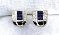Sterling Silver Lab Square Blue Sapphire CZ Cubic Zirconia Gemstone Gem Earring