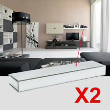 2PCS 70cm Length Mirror Wall Shelves Bevelled Mirrored Floating Shelf Display UK