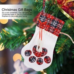 Christmas Gift Bags Soft Cloth Dog Pet Paw Socks Hanging Doll Toy Gifts Storage