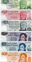 Argentina / Argentinien (1,5,10,50,100,500) Pesos 1976 / 74 Lot 6 Stück UNC.