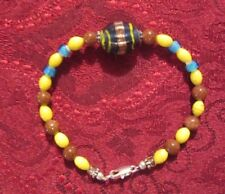Vintage Glass And Stone Bracelet Blue, Yellow Glass, Goldstone Beads
