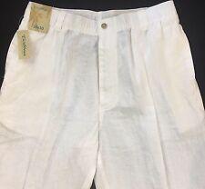 Men's CARIBBEAN White 100% LINEN Casual Pants 36x30 36 30 NWT Beach Wear $79.50