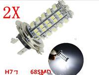 2 Lampara Bombillas H7 68 LED 3528 SMD Luz Blanca Pura Coche DC 12V calida