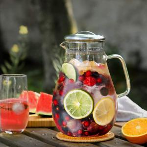 Glass Pitcher With Lid Ice Tea Jug Beverage Dispenser Water Carafe Juice 64 Oz