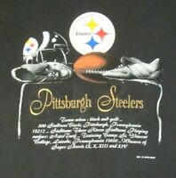 Vtg 90's PITTSBURGH STEELERS Embroidered T SHIRT Nutmeg NFL Dated XL Made USA