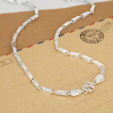 """Real 990 Pure Silver Necklace Rhombus Dragon Link Chain 20"""""""