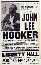 More details for john lee hooker concert poster 1975 - liberty hall, houston - reprint