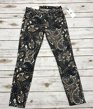 7 For Mankind Women's Ankle Super Skinny Jeans Multi-Color Paisley Print Size 26