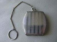 Antique Silver T Watch Fob Bar Chain Finger Ring Purse Dance Compact HFB Co NGE