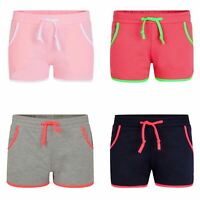 Kids Colourful Running Shorts Summer Pipping Details Girls Bottoms 3-14 Years