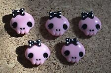 Set of 5 Cute Pink Skulls bulletin board pushpins, thumbtacks, or magnets