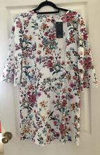 RESERVED London Floral 3/4 Bell Sleeve Cotton Linen Dress UK12 BNWT