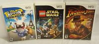 Lot Of 3 Nintendo Wii Video Games - Lego Star Wars, Indiana Jones, and Rayman 2
