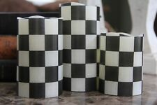 Black and White Checkered Flameless LED Pillar Candles Set