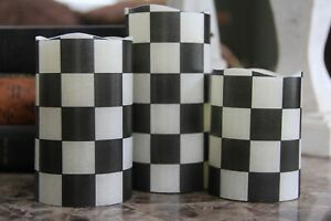 ❤️Black and White Checkered Flameless LED Pillar Candles Set w/Remote Control❤️