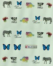 Nail Art Water Decals Zebra Dog Wolf Butterfly Cow Flowers BLE1965