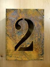 "8"" RUSTY RUSTED INDUSTRIAL METAL BLOCK CUT SIGN NUMBER TWO #2 house address wall"