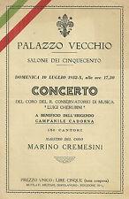 Programma del Concerto del Coro del R. Conservatorio Cherubini Firenze 1932