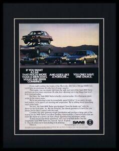 1988 Saab 9000 Tubo 11x14 Framed ORIGINAL Vintage Advertisement