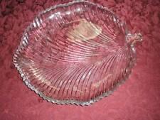 FABULOUS LARGE LEAF  GLASS SERVING PLATTER PATTERNED