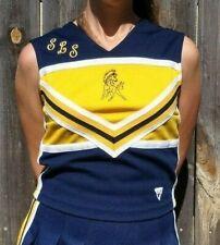 Real Authentic Varsity School Cheerleading Uniform Cheer Top Shell Blue Yellow