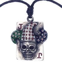 Gothic Joker Clown Skull Horror Silver Pewter Pendant Necklace w Adjustable Cord