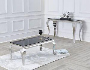 Louis Coffee Table 100cm in Black / Grey / White /White Marble Glass Chrome Legs