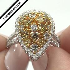Certified Estate Fancy Yellow Champagne Cognac Diamond 14k Gold Ring 2.86 tcw