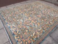 Traditional Hand Made Rugs Afghan Zigler Oriental Wool Blue Carpet 366x283cm