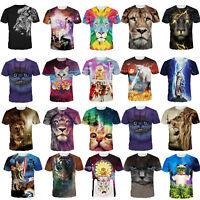 Wolf Tiger Lion Animal 3D Print Women Men Short Sleeve Graphic T-shirt Tops US