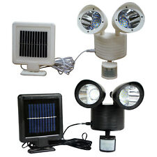 22 LED Motion Sensor Solar Panel Twin Spot Light Garden Security Floodlight Lamp
