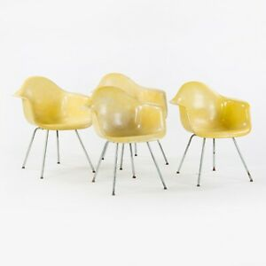 1952 Set of Four Herman Miller Eames Rope Edge SAX Dining / Side Armshell Chairs