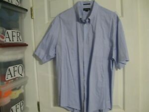 Men's Shirt Blue Lands' End 17.5 No Iron Pinpoint Oxford Short Sleeve