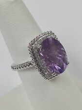 Sterling Silver Ring Amethyst and Diamond