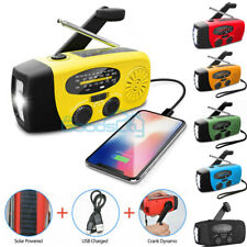 Rechargeable Solar Wind Up Hand Crank LED Flashlight AM/FM Weather Radio Charger