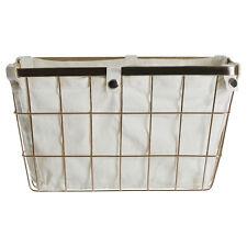 Premier Housewares Iron Wire Storage Basket With Liner Gold 19 X 33 X 25 Cm