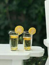 DOLLHOUSE 1:12 Miniature Pair of Yellow Lemonade Glasses w//Lemon Garnish