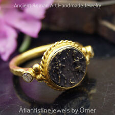 925 Hammered Sterling Silver Roman Art Coin Ring By Omer 24k Yellow Gold Vermeil