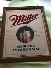 """Miller """"Made The American Way"""" Beer Bar Mirror/Sign"""