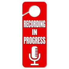 Recording in Progress Microphone Plastic Door Knob Hanger Sign