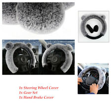 3Pcs Wool Furry Fluffy Thick Car Steering Wheel Cover Winter Hand Brake Cover